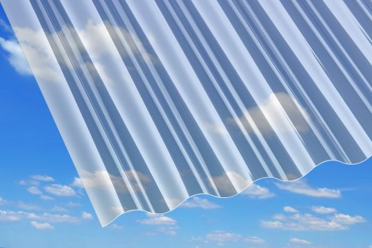 PVC corrugated sheets, clear