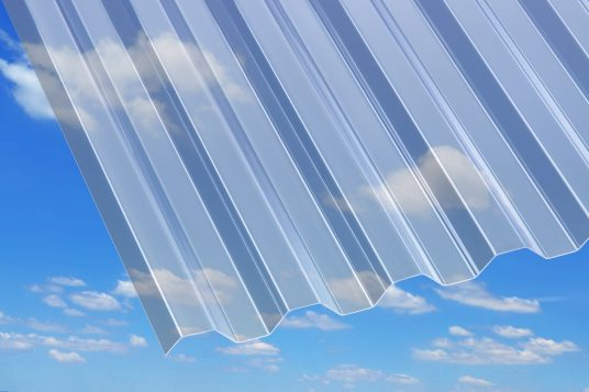 PVC corrugated sheets, trapeze, clear