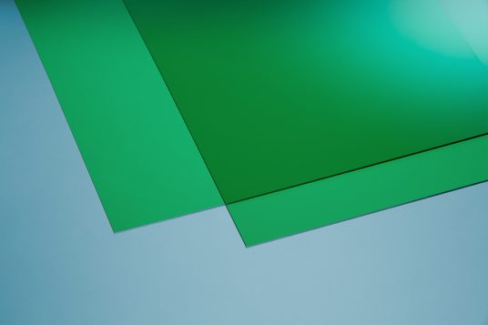 Acrylic glass colored green