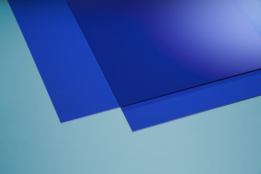 Acrylic glass colored blue