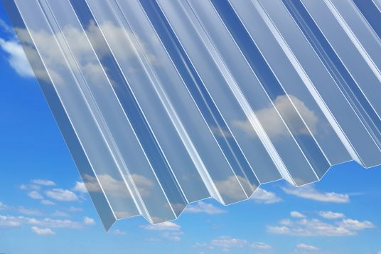 Polycarbonate corrugated sheets 0.8 mm, trapeze, clear