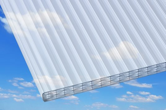 25 mm polycarbonate wall sheets, opal, with heat protection