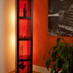 Shelf with acrylic glass coloured red