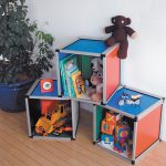 Storage boxes with handicraft boards coloured
