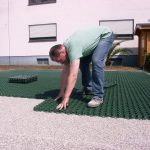 Parking lot with lawn grids