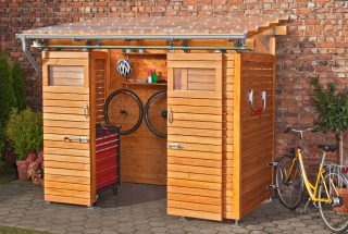 Bicycle shelter with corrugated polycarbonate sheets clear