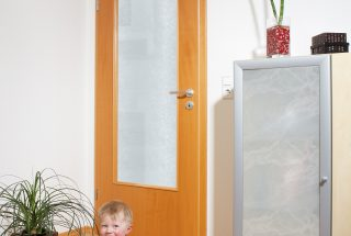 Cabinet door and door cut-out with polystyrene glass