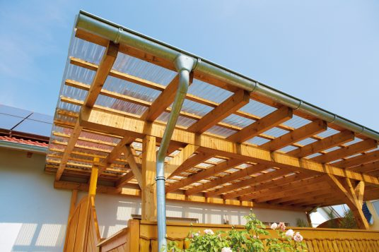 Balcony canopy with acrylic corrugated sheets clear